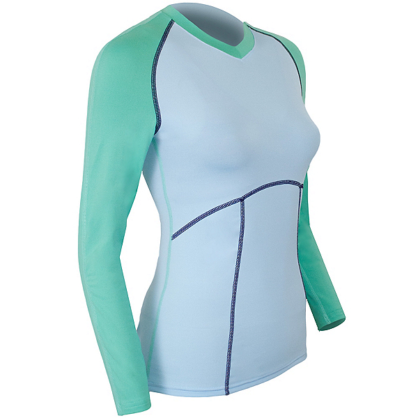 PolarMax Comp3 4-Way Stretch Womens Long Underwear Top, Cool Blue, 600