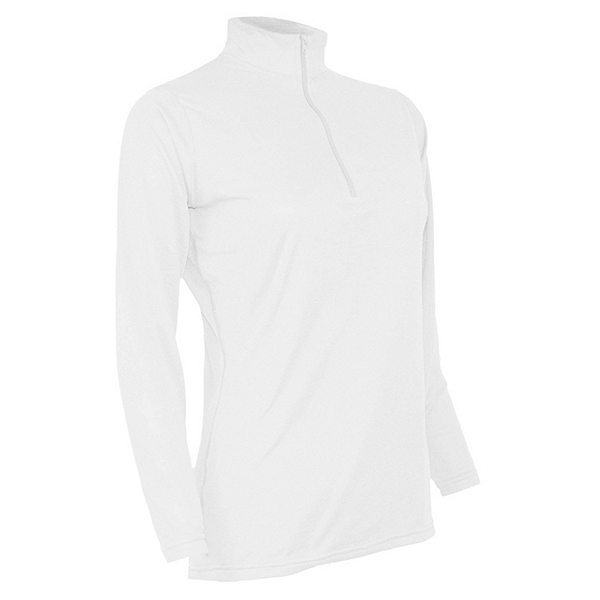 PolarMax Womens XtrDry Cotton Zip Mock Neck Baselayer Top, White, 600