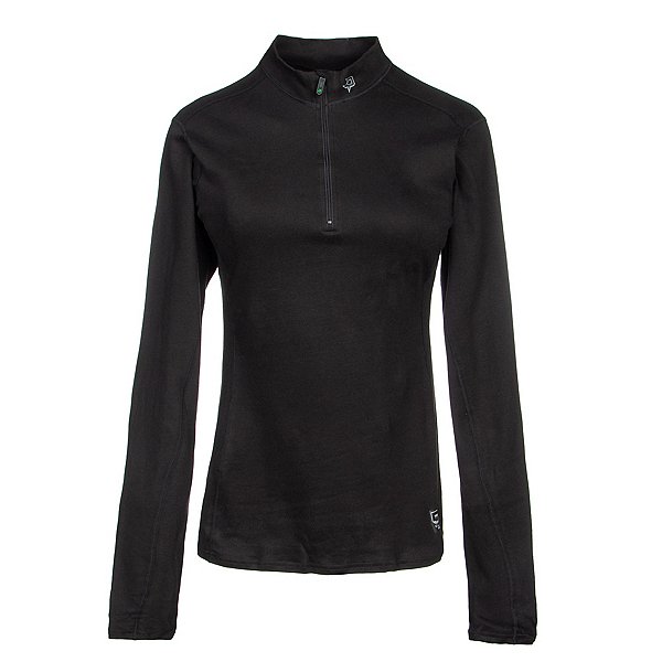PolarMax Womens XtrDry Cotton Zip Mock Neck Baselayer Top, Black Black, 600