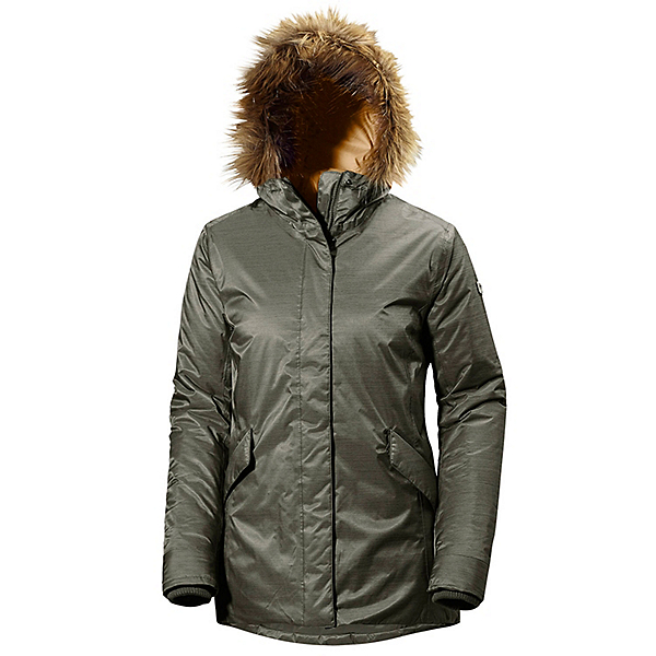 Helly Hansen Hilton 2 Parka w/Faux Fur Womens Jacket, Olive Night, 600
