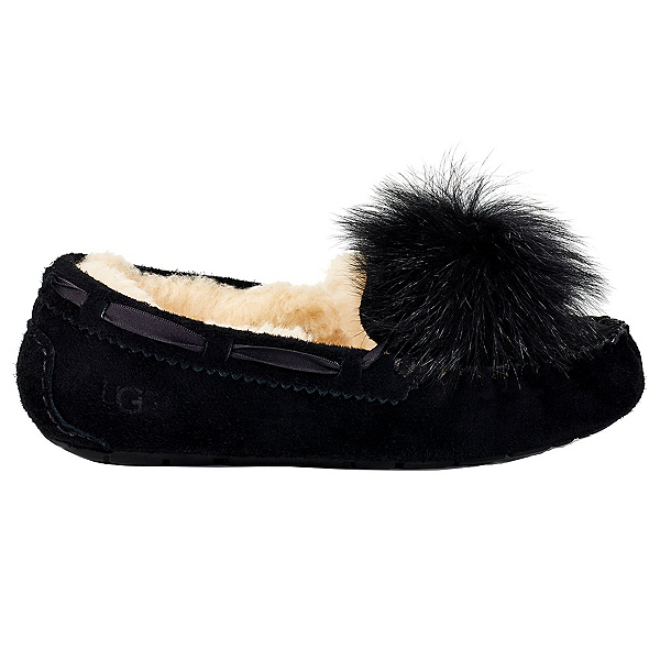 UGG Dakota Pom Pom Womens Slippers, Black, 600
