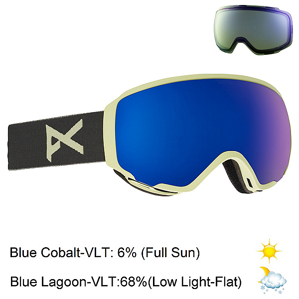 Anon WM 1 Womens Goggles, Gray-Blue Cobalt + Bonus Lens, 600