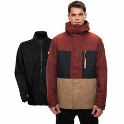 686 Smarty 3-in-1 Form Mens Insulated Snowboard Jacket, Rusty Red Melange Colorblock, 256