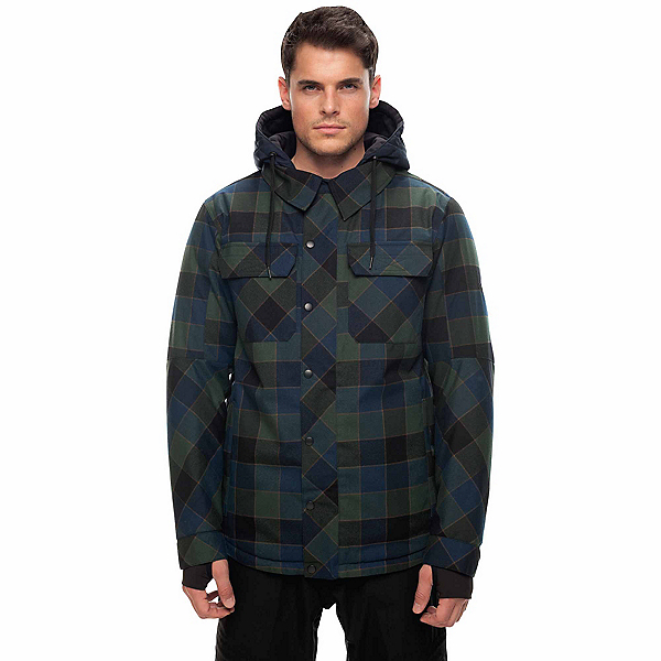 686 Woodland Mens Insulated Snowboard Jacket, Blue Green Plaid, 600