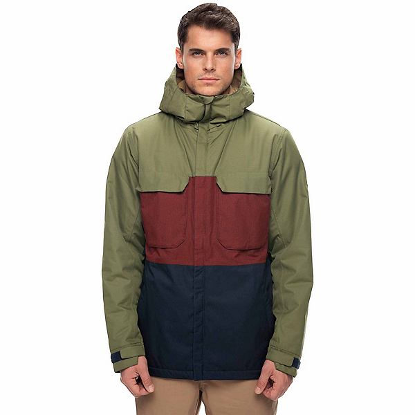 686 Moniker Mens Insulated Snowboard Jacket, Fatigue Colorblock, 600