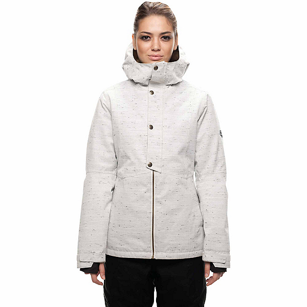 686 Rumor Womens Insulated Snowboard Jacket, White Slub, 600