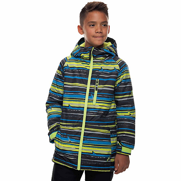 686 Jinx Insulated Boys Snowboard Jacket, Bluebird Stripe Print, 600