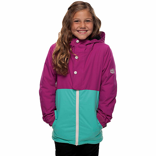 686 Belle Insulated Girls Snowboard Jacket, Fuchsia Colorblock, 600