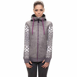 686 Ella Zip Bonded Fleece Womens Hoodie, Charcoal Printed Melange Textu, 256