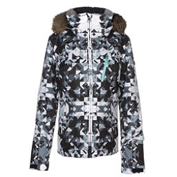 Roxy Jet Ski Premium w/Faux Fur Womens Insulated Snowboard Jacket, Bright White-Geodeco, 256