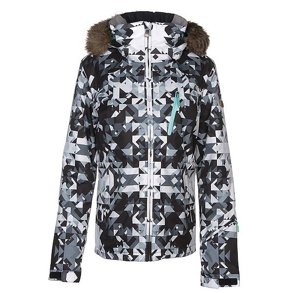 Roxy Jet Ski Premium w/Faux Fur Womens Insulated Snowboard Jacket, Bright White-Geodeco, 600