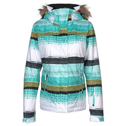 Roxy Jet Ski w/Faux Fur Womens Insulated Snowboard Jacket, Aruba Blue-Lizzydots, 256