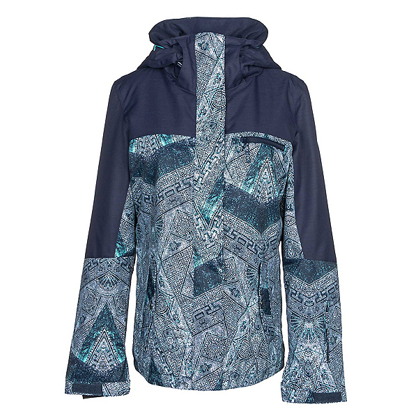 Roxy Jetty Block Womens Insulated Snowboard Jacket, Peacoat-Avoya, 600