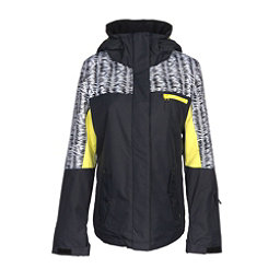 Roxy Jetty Block Womens Insulated Snowboard Jacket, True Black-Savanna, 256