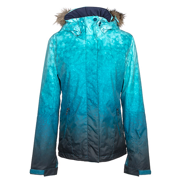 Roxy Jet Ski SE w/Faux Fur Womens Insulated Snowboard Jacket, Ink Blue-Solargradient, 600