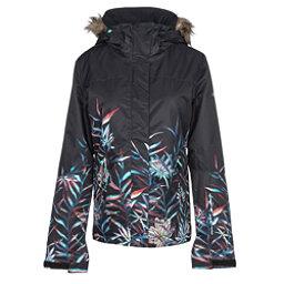 Roxy Jet Ski SE w/Faux Fur Womens Insulated Snowboard Jacket, True Black-Garden Party, 256
