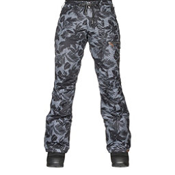 Roxy Rifter Printed Womens Snowboard Pants, True Black-Floral Herringbone, 256
