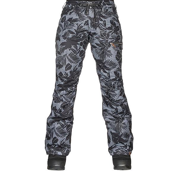 Roxy Rifter Printed Womens Snowboard Pants, True Black-Floral Herringbone, 600