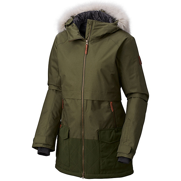 Columbia Catacomb Crest Parka w/Faux Fur Womens Insulated Ski Jacket, Surplus Green, 600