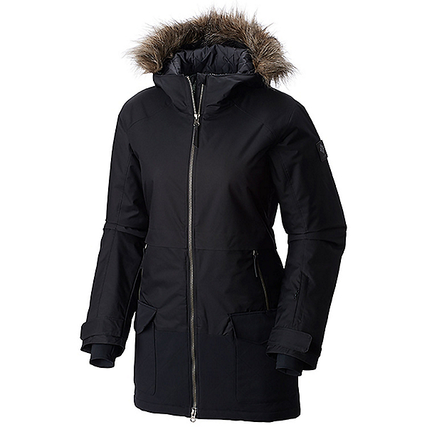 Columbia Catacomb Crest Parka Plus w/Faux Fur Womens Insulated Ski Jacket, Black, 600