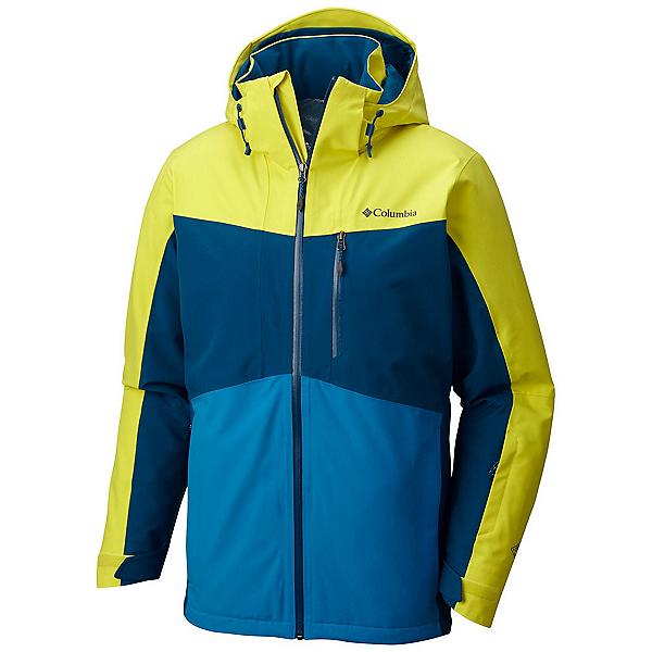 Columbia Wild Card Mens Insulated Ski Jacket, Acid Yellow-Phoenix Blue, 600