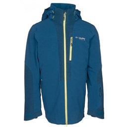 Columbia Powder Keg Down Mens Insulated Ski Jacket, Phoenix Blue-Acid Yellow, 256