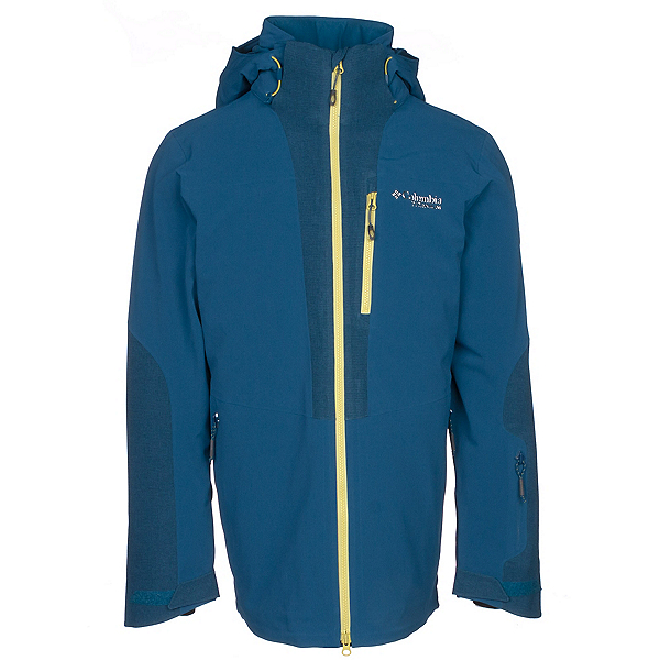 Columbia Powder Keg Down Mens Insulated Ski Jacket, Phoenix Blue-Acid Yellow, 600