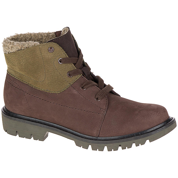 Caterpillar Fret Faux Fur WP Womens Boots, Coffee Bean-Dark Olive, 600