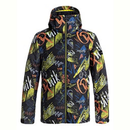 Quiksilver Mission Printed Boys Snowboard Jacket, Black Thunderbolt Kids, 256