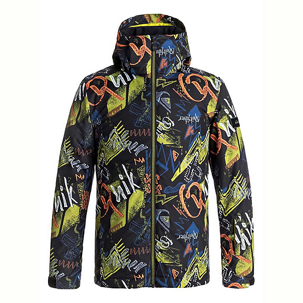 Quiksilver Mission Printed Boys Snowboard Jacket, Black Thunderbolt Kids, 600