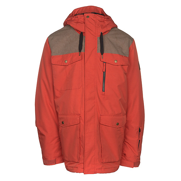 Quiksilver Raft Mens Insulated Snowboard Jacket, Ketchup Red, 600