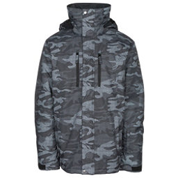 Quiksilver Mission Printed Mens Insulated Snowboard Jacket, Black Grey Camokazi, 256