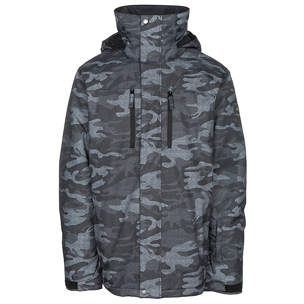 Quiksilver Mission Printed Mens Insulated Snowboard Jacket, Black Grey Camokazi, 600