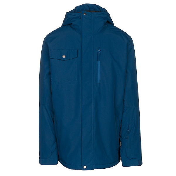 Quiksilver Mission Solid Mens Insulated Snowboard Jacket, Estate Blue, 600
