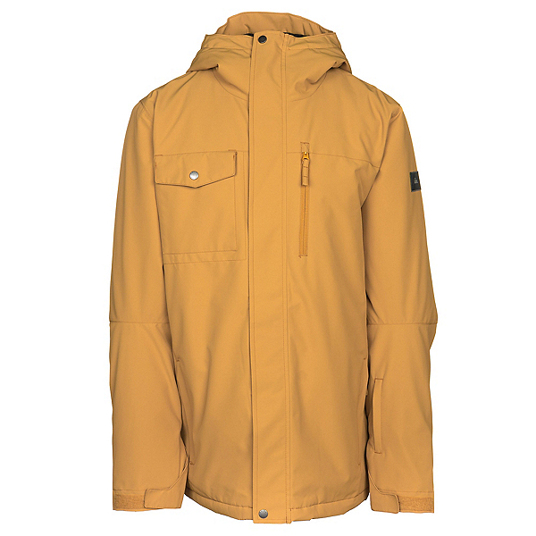 Quiksilver Mission Solid Mens Insulated Snowboard Jacket, Mustard Gold, 600