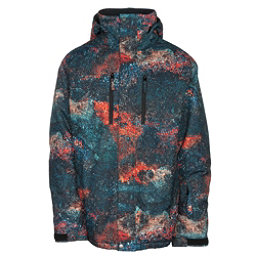 Quiksilver TR Mission Printed Mens Insulated Snowboard Jacket, Marine Iguana Real, 256
