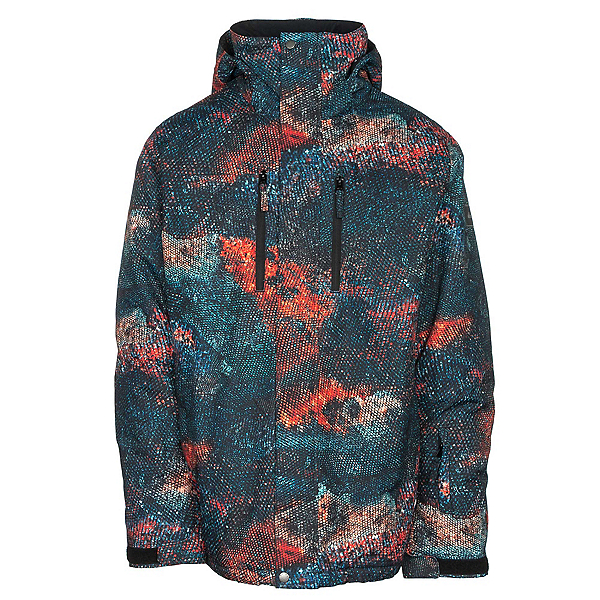 Quiksilver TR Mission Printed Mens Insulated Snowboard Jacket, Marine Iguana Real, 600