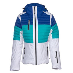 NILS Beth Womens Insulated Ski Jacket, White-Turquoise-Blue Blaze, 256