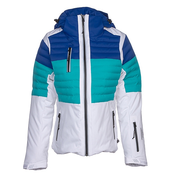 NILS Beth Womens Insulated Ski Jacket, White-Turquoise-Blue Blaze, 600