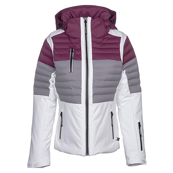NILS Beth Womens Insulated Ski Jacket, White-Steel Gray-Merlot, 600