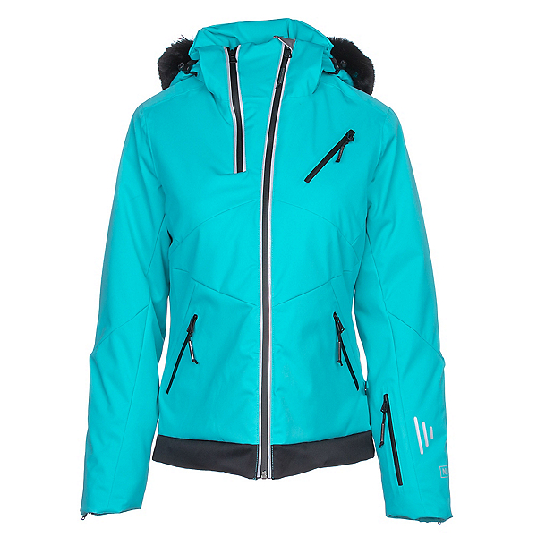 NILS Belinda w/Faux Fur Womens Insulated Ski Jacket, Turquoise-Black, 600