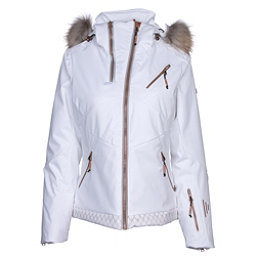 NILS Bianca SE Real Fur Womens Insulated Ski Jacket, White-Copper Geo Print, 256