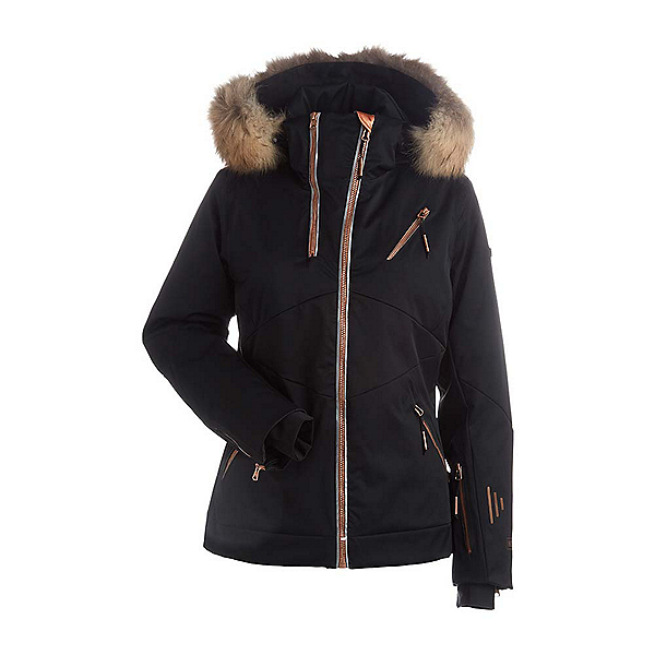 NILS Bianca SE Real Fur Womens Insulated Ski Jacket, Black-Copper Trim, 600