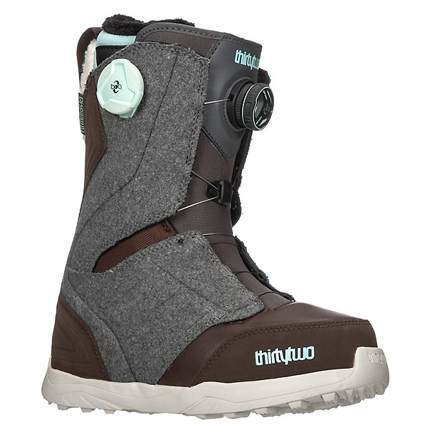 ThirtyTwo Lashed Double Boa Womens Snowboard Boots, Grey-Brown, 600
