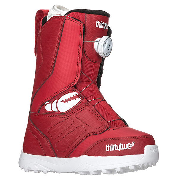 ThirtyTwo Youth Lashed Crab Grab Boa Kids Snowboard Boots, Red, 600