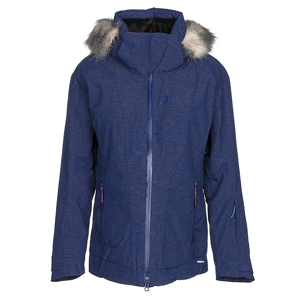 Salomon Weekend + w/ Faux Fur Womens Insulated Ski Jacket, Medieval Blue Heather, 600