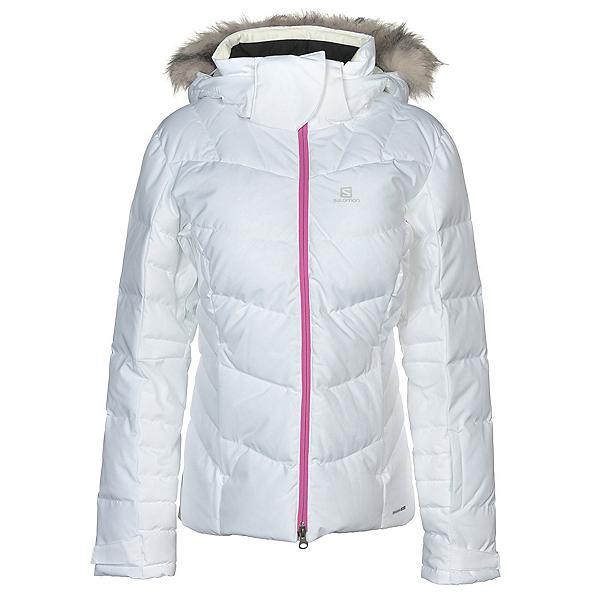Salomon Icetown w/ Faux Fur Womens Insulated Ski Jacket, White Heather, 600