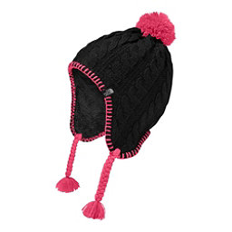 The North Face Fuzzy Earflap Beanie Kids Hat, TNF Black-Petticoat Pink, 256
