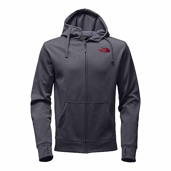 The North Face Surgent LFC Full Zip Mens Hoodie, TNF Medium Grey Heather-TNF Re, 600