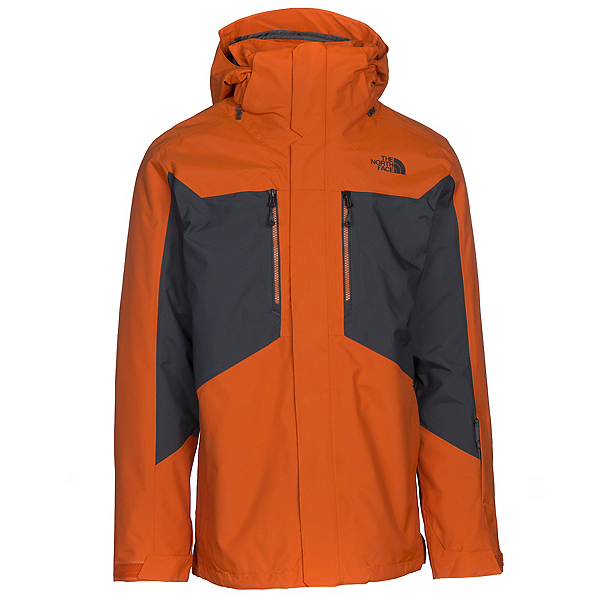 The North Face Clement Triclimate Mens Insulated Ski Jacket, Hawaiian Sunset Orange-Asphalt, 600